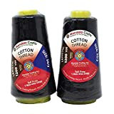 Mandala Crafts Quilting Cotton Thread Cone for Machine and Hand Sewing, 100 Percent Natural Mercerized, 50 wt (2 Rolls 2400 Yards, Black)