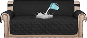 "H.VERSAILTEX 100% Waterproof Sofa Protector Cover Couch Covers for Dogs / Pets | Sofa Covers for 3 Cushion Couch Leather Sofa Slipcovers with Non Slip Backing (Seat Width 68"", Black)"