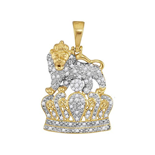 Round Tiger Yellow Gold (10kt Yellow Gold Mens Round Diamond Lion Tiger Crown Charm Pendant 1/3 Cttw)