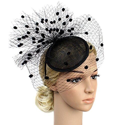 Free Yoka Sinamay Feather Fascinators Womens Pillbox Flower Derby Hat for Cocktail Ball Wedding Church Tea Party (Black B) by Free Yoka
