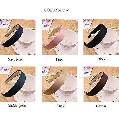 Calliar Women 3cm Wide Stain Covered Headbands Hair Band,6 Pack-Color 1