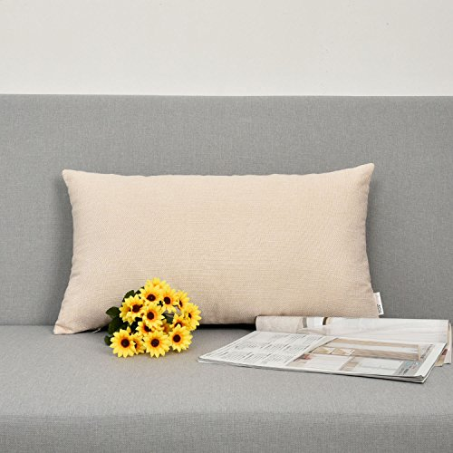 NATUS WEAVER Decor Oblong Lined Linen Square Throw Cushion Pillowcase Cover for Sofa, 12
