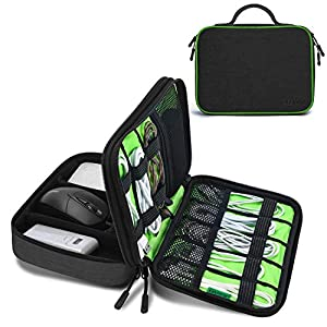 JESWO Cable Organiser Bag, Electronics Organizer Cable Tidy Bag Double Layer for Electronic Accessories Travel Organizer…
