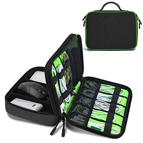 JESWO Electronic Organizer, Travel Cord Organizer, Electronic Accessories Double Layer Travel Organizer Bag for Cables, SD Cards, Hard Drive, Power Bank, iPad Mini (Up to 7.9'') and More - Black