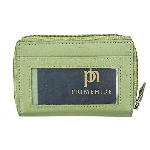 Prime Hide Windermere RFID-sicheres Damen-Portemonnaie aus weichem Leder, 3-fach zusammenkappbar, mit hinterer Ausweis-Tasche, in Geschenkverpackung, taupe (Beige) - 22830-Taupe grün
