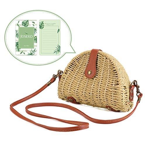 Crossbody Straw Bag, JOSEKO Womens Straw Handbag Shoulder Bag for Beach Travel and Everyday Use Off White 8.07 ()