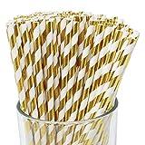 Just Artifacts 100pcs Premium Biodegradable Striped Paper Straws (Striped, Metallic Gold)