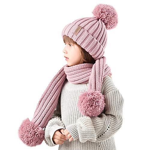 FURTALK Kids Winter Knitted Faux Fur Pom Pom Cap Toddler Boys Girls Kids Beanie Hat (Ages 2-8) (One Size, Scarf hat Set- Light Pink)
