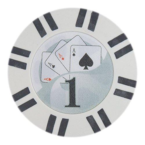 Brybelly 2 Stripe Twist Poker Chip Lightweight 8-gram Clay Composite - Pack of 50 ($1 White)