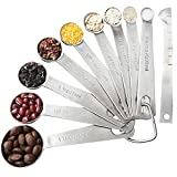 CJHFAMILY Set of 10 Stainless Steel Measuring Spoons