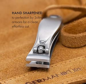 GERMANIKURE 3pc Travel Manicure Set - FINOX Stainless steel tools handmade in Solingen Germany: Fingernail Clipper, Toenail Clipper, Glass Nail file in Leather Case (Color: Nail File)