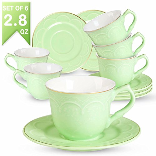 Espresso Floral Cup (Guangyang Espresso Cups and Saucers Set- 2.8OZ/80ML New Bone China Tea Cups Set Porcelain Embossed Floral Gold Edge Demitasse Mugs for Coffee 6PCS,Green)