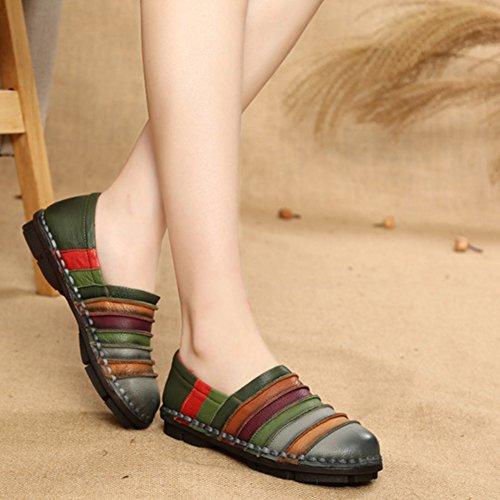 Mujer Gris Mocasines Conducción Planos Zapatos Deslizamiento Zapatillas Cuero Casual 42 Mocasín Wealsex Tamaño De Para 35 wFWqAHntZ