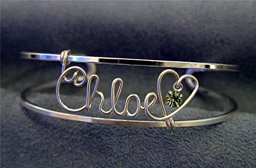 Personalized Silver or Gold Name Bracelet, Cuff, Bangle w/Heart and Swarovski Birthstone~Any Name(s)~Handcrafted Name Jewelry