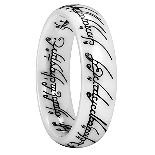 King Will Magic Mens 6mm White Ceramic Ring Black Lord of Ring Comfort Fit Wedding Band12