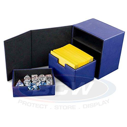 1 BCW BLUE Deck Commander LX Gaming Card CCG Leatherette Locker Storage Box