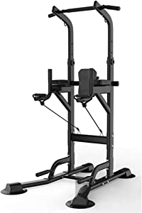 Fitness equipment Pull-up Bars Free Standing Stand Dip Station Power Tower Pull-up Bar Strength Training for Home Gym 990 Weight Capacity (Size : C-Black)