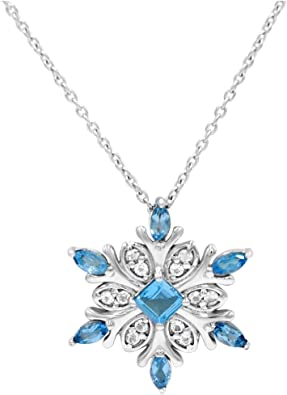 Sterling Silver Blue Topaz Pendant Solid 8 mm 16 mm Pendants /& Charms Jewelry
