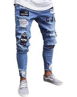 Pantalones Hombre Vaquero Elastico YiYLunneo Pantalones ...
