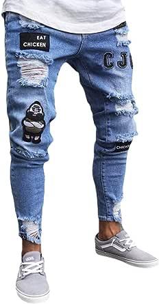 AnyuA Pantalones Vaqueros Hombres Rotos Pitillo Slim Fit Skinny Pantalone Casuales Elasticos Agujero Pantalón Personalidad Jeans de Insignia