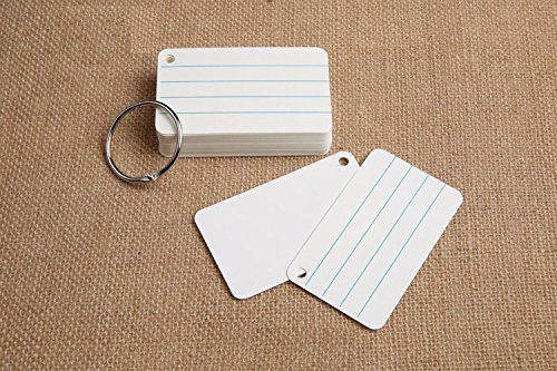Chris-Wang 200 Sheets Hole Punched and Perfed Words Study Card Flash Cards with 4 Metal Binder Rings, Style A(4 Ruled Line Front, Blank Reverse)