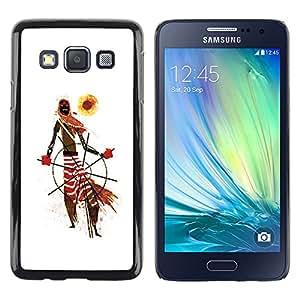 Shell-Star Arte & diseño plástico duro Fundas Cover Cubre Hard Case Cover para Samsung Galaxy A3 / SM-A300 ( African Tribal Man Art Scarf Pattern Sun )