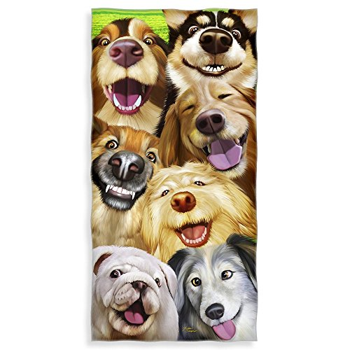 Dogs Selfie Cotton Beach Towel product image