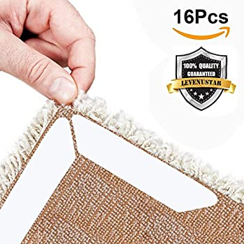 LEVENUSTAR Rug Gripper - Non Slip Rug Pad, Keeps Your Rug in Place & Makes Corners Flat, Stop Slipping. Ideal Alternative to Rug Tape, Carpet Tape and Rug Pad for Hard Floors (16Pcs)