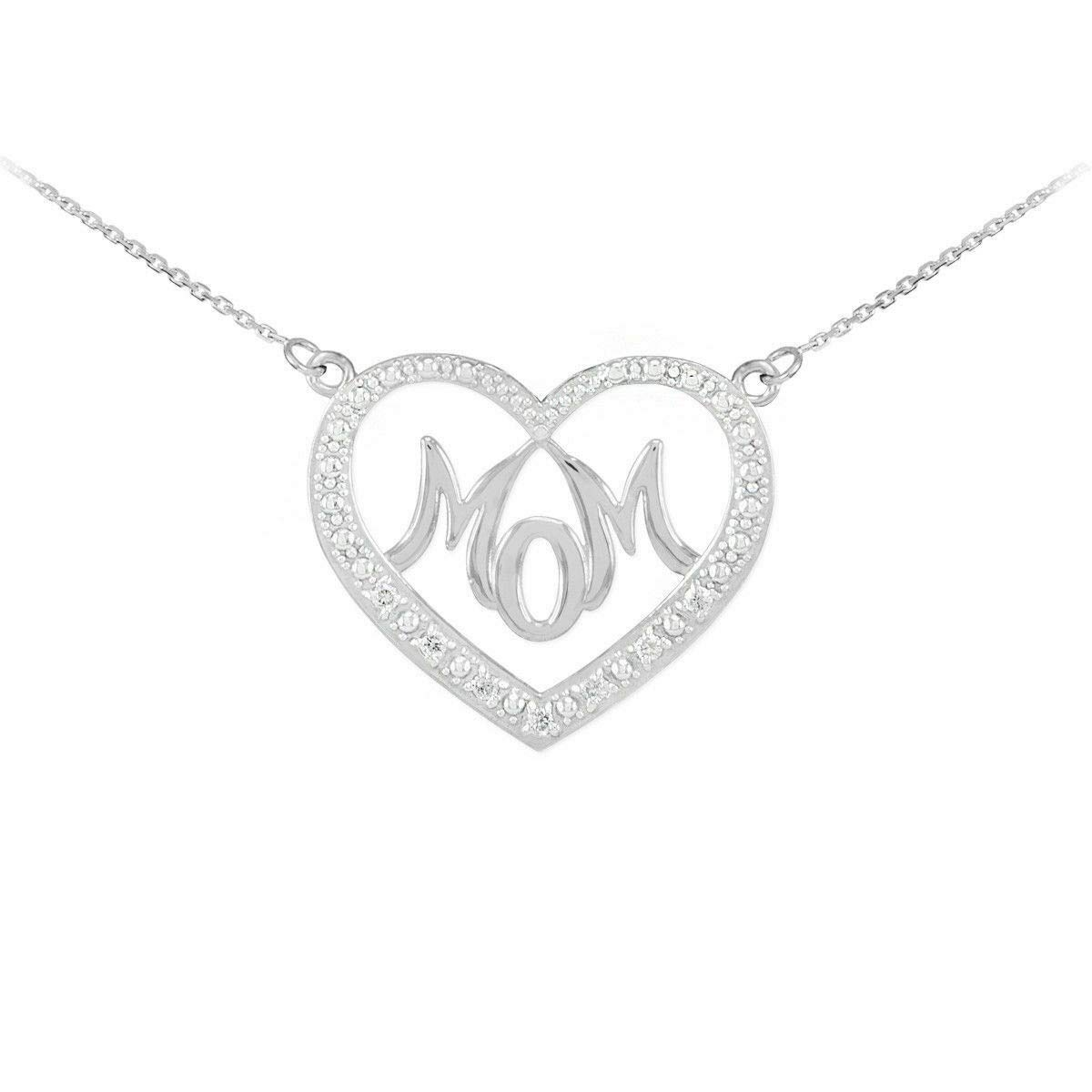 14k Yellow Gold Plated 925 Silver 0.15 Ct Round Cut Simulated Diamond HeartMom Pendant With 18 Chain