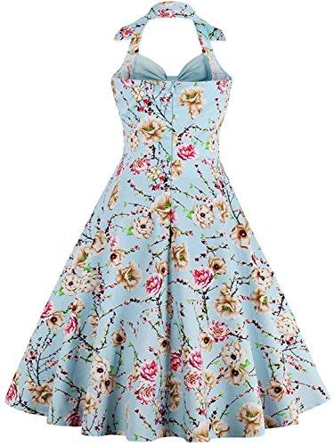 Babyonlinedress Vestido vintage y casual cuello de halter sin mangas falda plisada diseño de lazo por pechos vestido de coctel de fiesta estampado floral 7