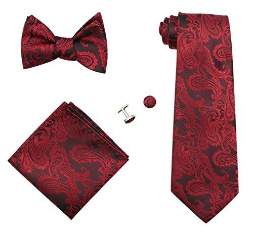 JAIFEI Gentleman's Gift Set – Paisley Woven Necktie, Pocket Square, Bowtie & Cufflinks (Burgundy)