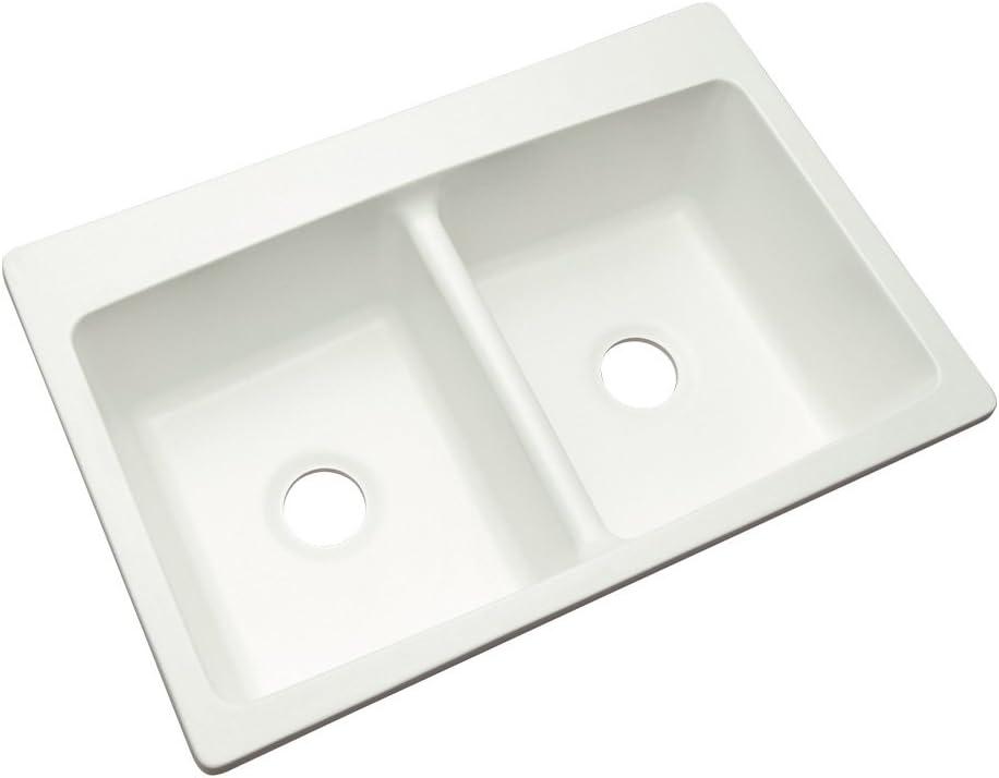 Dekor Sinks 60000NSC Woodbridge Composite Double Bowl Kitchen Sink, 33-Inch, White Natural Stone