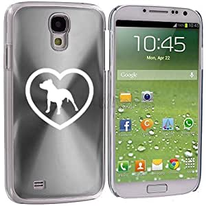 Samsung Galaxy S4 S IV Aluminum Plated Hard Back Case Cover Pitbull Heart (Silver)