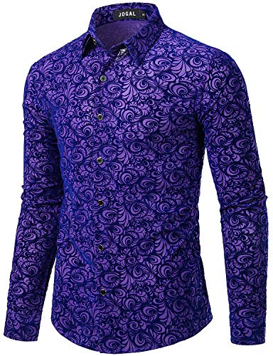 JOGAL Men's Floral Vintage Velvet Slim Fit Long Sleeve Casual Button Down Shirt Medium A349 Purple Vintage - Shirt Big Velvet