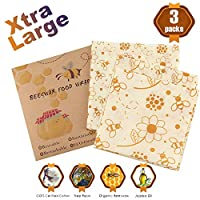 Reusable Beeswax Food Storage Wraps Cloth, Organic Eco Friendly Sandwich & Bread & Vegetables & Cheese & Container & Covers & Bowls Wrapping Set, Sustainable Plastic Free (3 Large Pack)