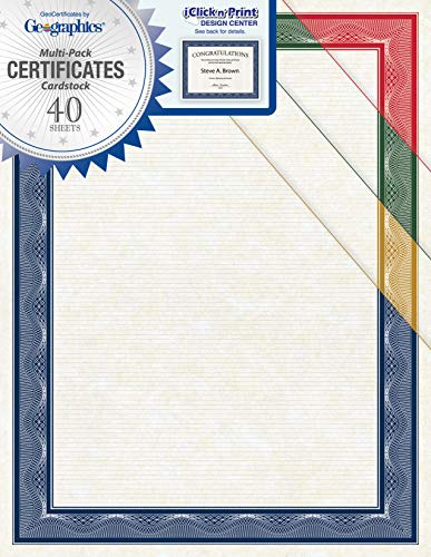 Geographics Assorted Traditional Card Stock Certificates,8.5 x 11