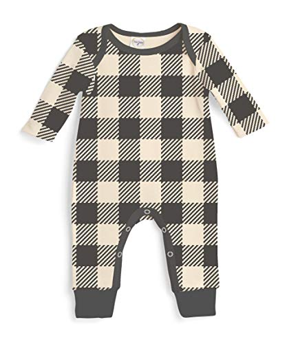 Newborn Baby Boy Coming Home Outfits Charcoal Check Fall Winter Long Sleeve Baby Bodysuit (3-6 Months)
