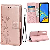 Wallet Case for Samsung Galaxy A7(2018), 3 Card Holder Embossed Butterfly Flower PU Leather Magnetic Flip Cover for Samsung Galaxy A7(2018)(Rose Gold)