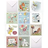 Eco Friendly 20 Greeting Cards Multipack Cute Vintage Animal Variety, Thank You Cards, Happy Birthday, Congratulations, Just Wanted to Say, with 20 envelopes Ideal for Females, Girls, Boys and Men