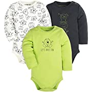 Baby 3-Pack Cotton Boys and Girls Long and Short Sleeve Bodysuits,Gray/White/Green(Monsters)