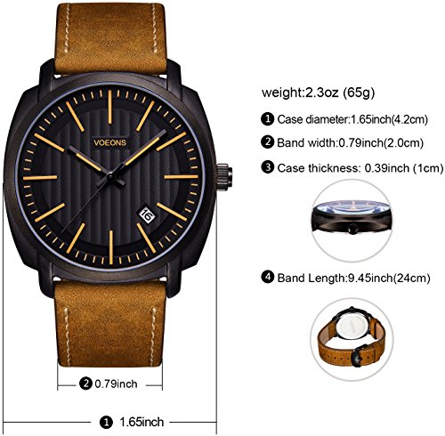 VOEONS-Watch-for-Men-Brown-Leather-Classic-30M-Waterproof