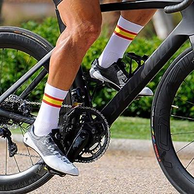NORTEI - Calcetines Bandera España para Ciclismo, MTB y Running de Meryl para Hombre y Mujer – Spain – (M(42-42), Blanco): Amazon.es: Deportes y aire libre