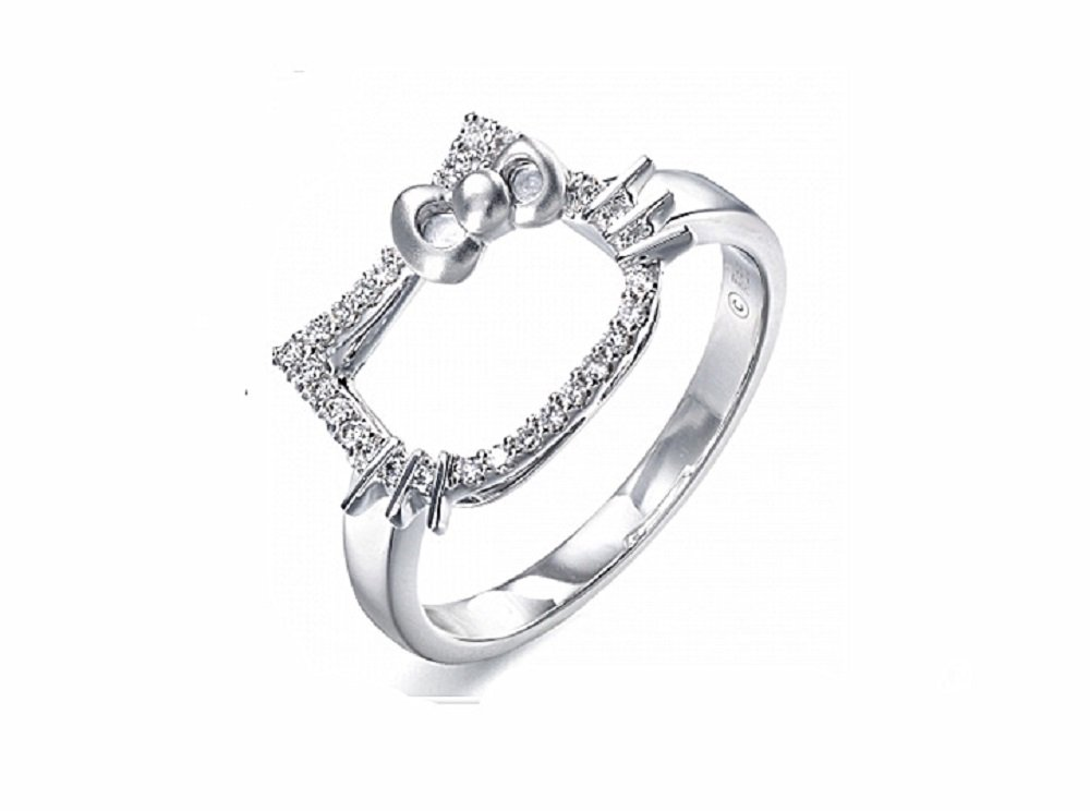 Platinum Plated Cute Kitty Shaped Ring For Girls-RSS031