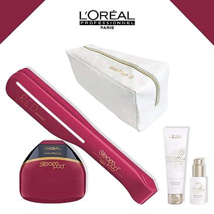 L Oreal – Pack Red Obsessed (edición limitada) – Neceser Glossy – Alisador de cabello vapor nueva generación + Sérum + leche crema de alisar cabello ...