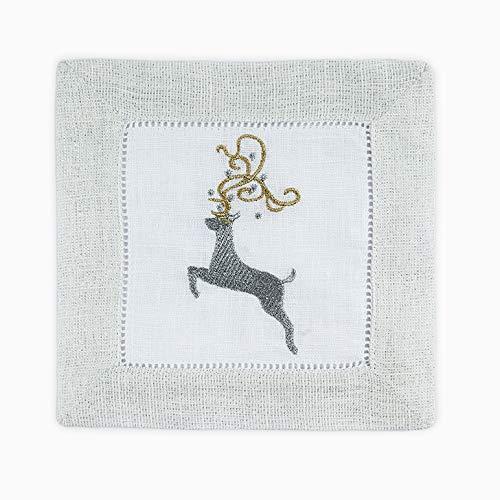 Sferra Reindeer Embroidered Cocktail Napkins 6 x 6 Set of 4