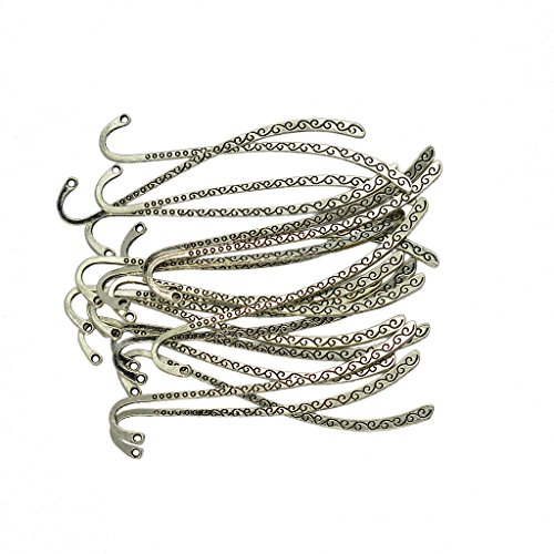 Hook Bookmark - Dovewill 20 Pieces/ Lot Wholesale Vintage Tibetan Silver Beading Line Pattern Bookmarks With Hoop DIY Making Findings Crafts