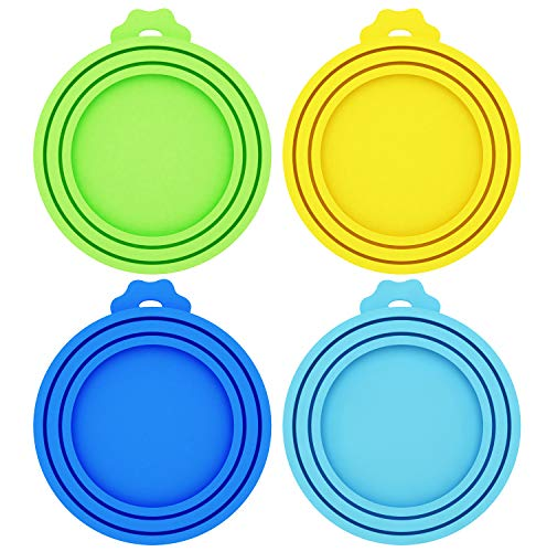 Petsvv 4 Pack Pet Food Can Covers Universal Silicone Can Lids - One Size fit 3 Standard Size Dog and Cat Can Tops
