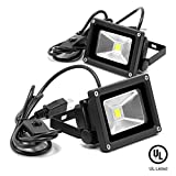 eTopLighting 2-Pack 10W 120V LED Flood Light IP65 Waterproof 5400K Daylight White Cord and Plug On/Off Switch, APL1783