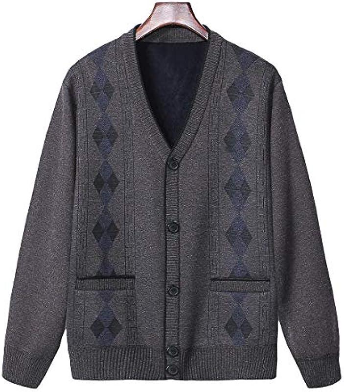 Heflashor męska kurtka z dzianiny, kardigan z dekoltem w serek i listwą guzikową, długi rękaw, outwear: Odzież