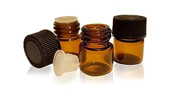 Amazon.com: 1/4 Dram (1 ml) Amber Glass Vial w/Black Screw Cap and ...